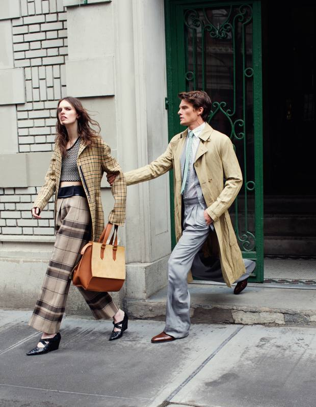 She wears Céline wool jacquard coat, £2,600, cotton crochet top, £1,050, wool trousers, £1,450, and calfskin shoes, £850. Amanda Kendell calfskin and pony hair bag, £541. He wears Michael Kors cotton trench coat, £395. Ermenegildo Zegna Couture silk jacket, £780, and matching trousers, £1,010. Hermès cotton shirt, £720, and silk twill tie, £130. Christian Louboutin calfskin Cousin Greg shoes, £695