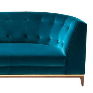 Amy Somerville Talay sofa (250cm wide) in black walnut and brushed brass with Malachite Smoking Room cotton velvet upholstery, £6,465. Also in other fabrics