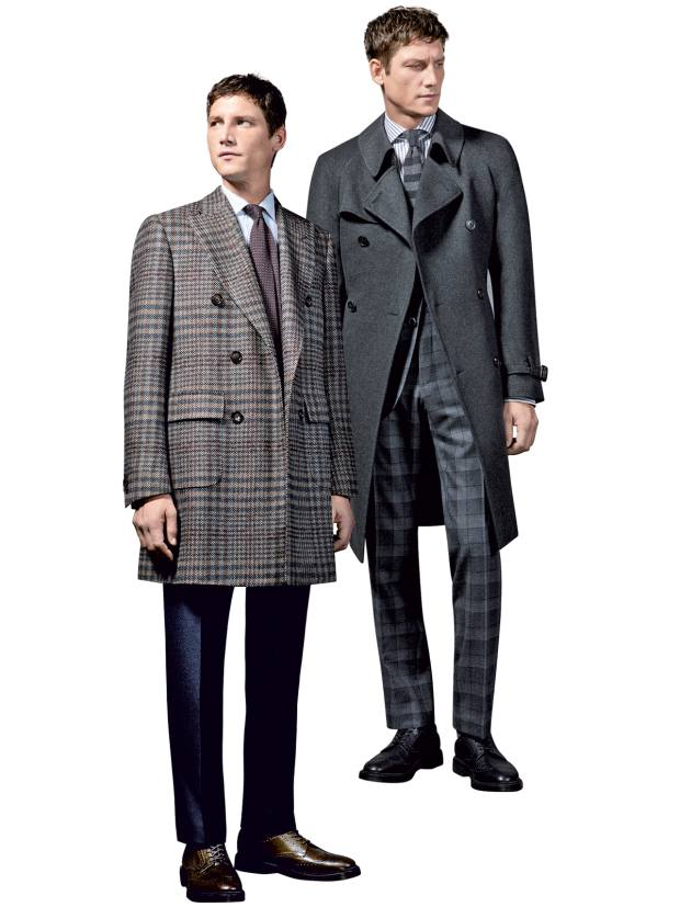 From left: Corneliani wool/silk coat, £1,300; cashmere coat, £2,040