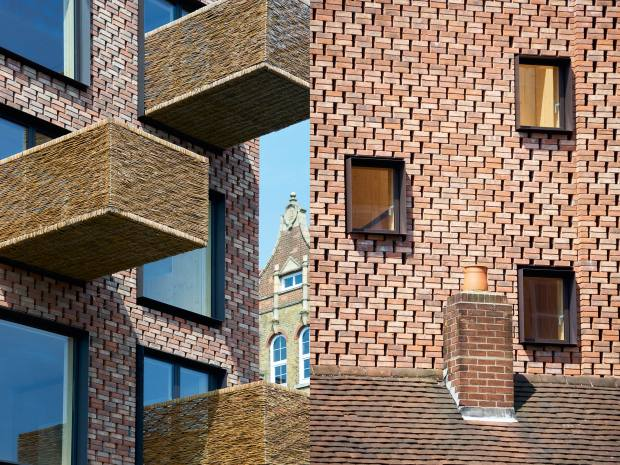 Woven-wicker balconies and a perforated brick façade are striking features on Groupwork + Amin Taha's six-apartment building in north London