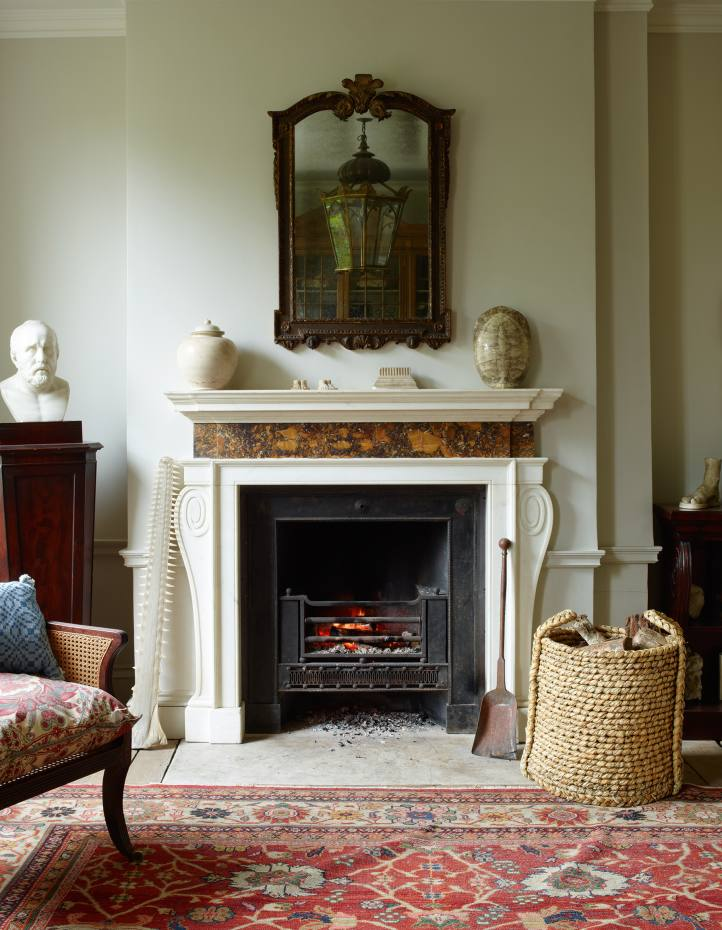 The c1750 marble fireplace in Will Fisher's drawing room