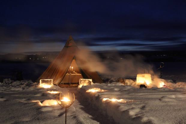 A candlelit dinner in Swedish Lapland