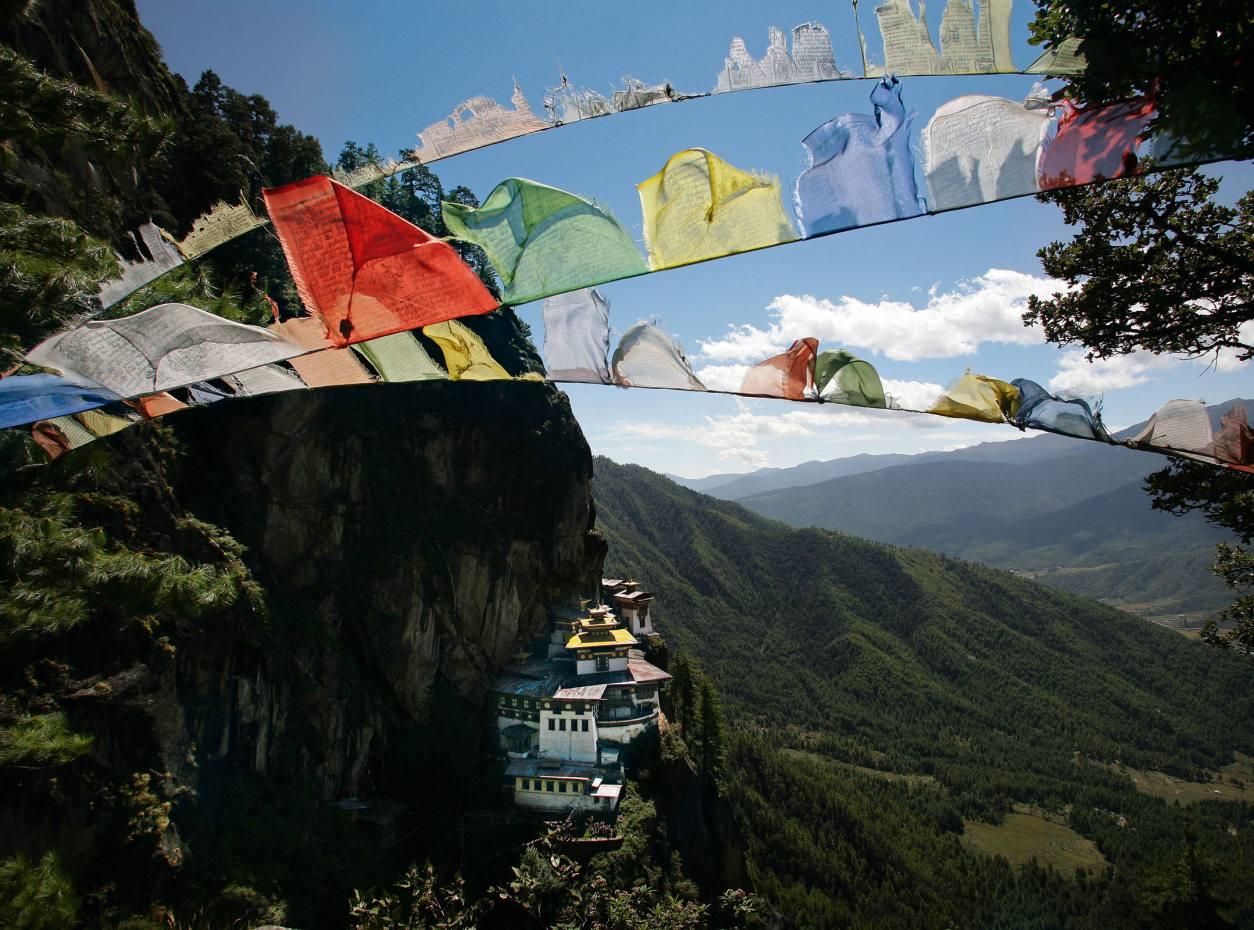 Buddhist prayer flags at Taktsang Monastery, Paro.
