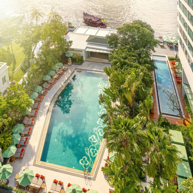 The pool at the redesigned Mandarin Oriental, Bangkok