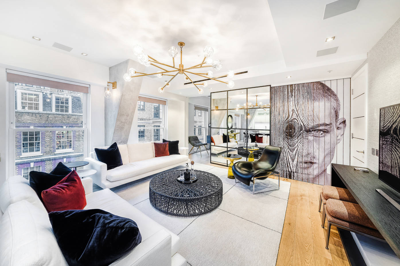 This three-bedroom flat on Essex Street has a sleek boutique-hotel vibe, £1,800 per week through Savills Mayfair