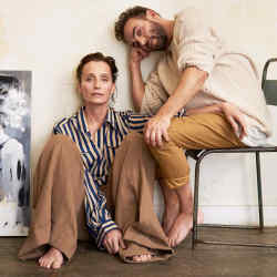Kristin Scott Thomas wears Fendi silk shirt, £1,190. Dries Van Noten wool/linen trousers, about £500. Christian Hook wears Maison Margiela wool jumper, £530. Haider Ackermann cotton tank top, £220. Trousers, Hook's own