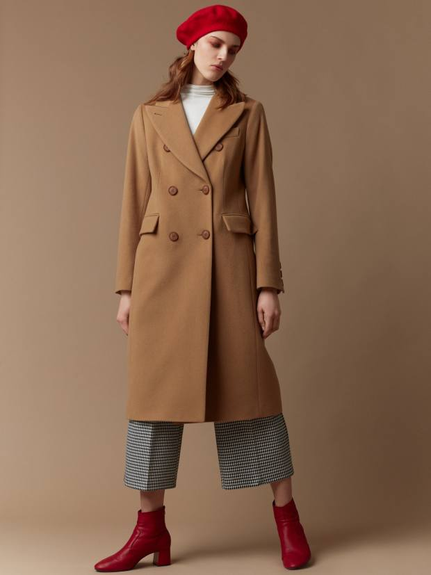 Double-breasted, hourglass-shaped camel coat, £419