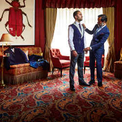 Paris-based tailor Lorenzo Cifonelli (right) with a client in Mayfair's Mark's Club