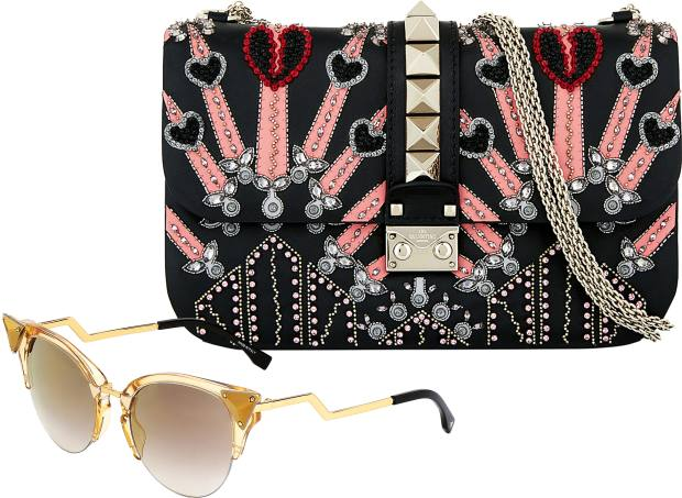 From left: Fendi crystal-framed Iridia sunglasses, £365. Valentino leather and crystal Rockstud bag, £2,350