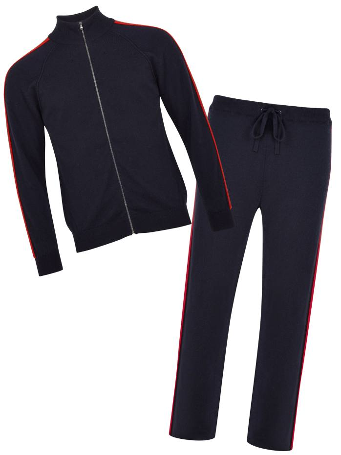 Johnstons of Elgin cashmere zipped track top, £399, and matching bottoms, £379