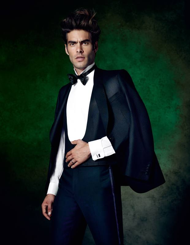 Brioni su misura (made-to-measure) three-piece wool/silk tuxedo, £4,680, cotton dinner shirt, £450, and silk bow tie, £90. Cufflinks, stylist's own** To bid for this suit in aid of Save the Children, visit Christies.com/HTSI. Online auction ends December 11. **