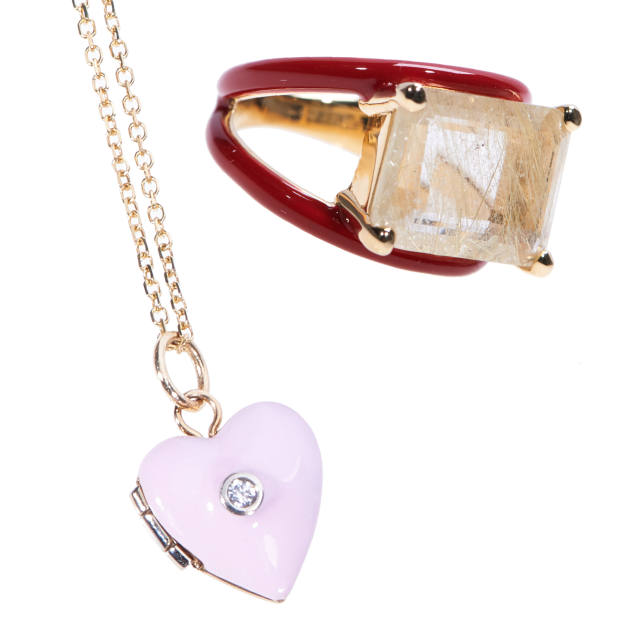 From left: a love-heart locket with a tiny diamond, $500, and a double band ring, which flaunts a chunk of rutilated quartz, $1,600