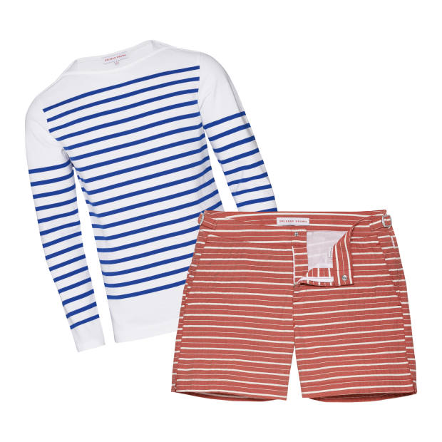 From left: Orlebar Brown cotton Breton top, £125. Bulldog shorts, £175