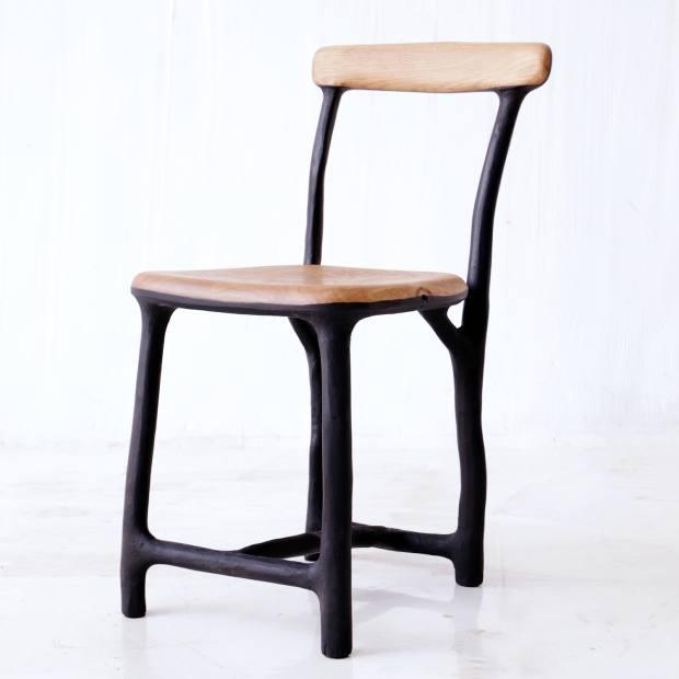Charred-hazeland oak Fall/Winter chair by Valentin Loellmann