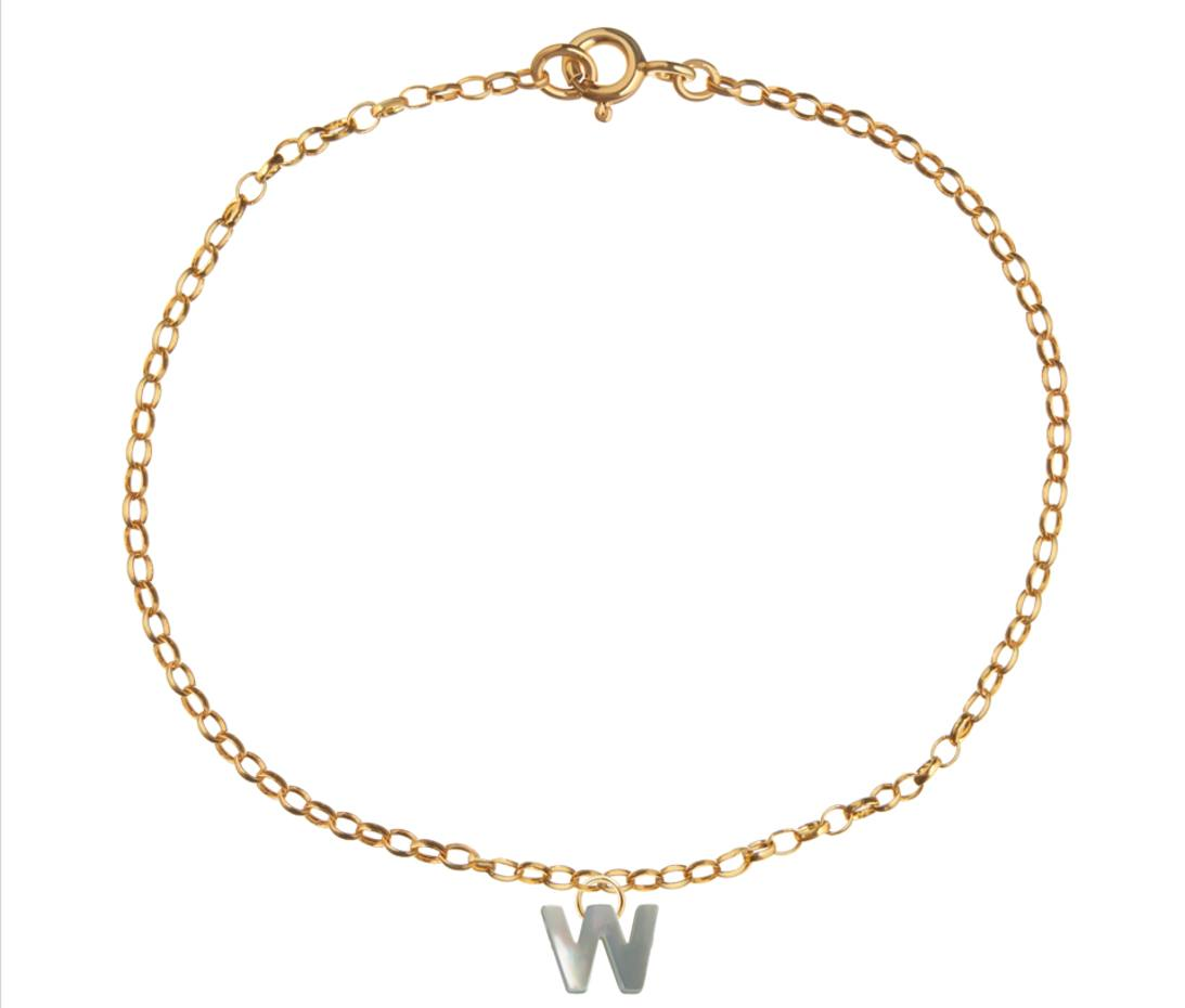 Tessa Packard 18ct gold vermeil and sterling silver Alphabet bracelet with mother-of-pearl charm, £150