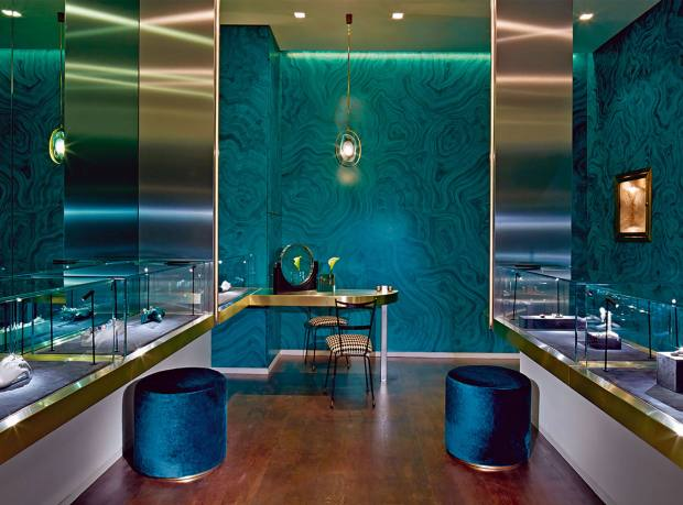 The malachite walls at Delfina Delettrez