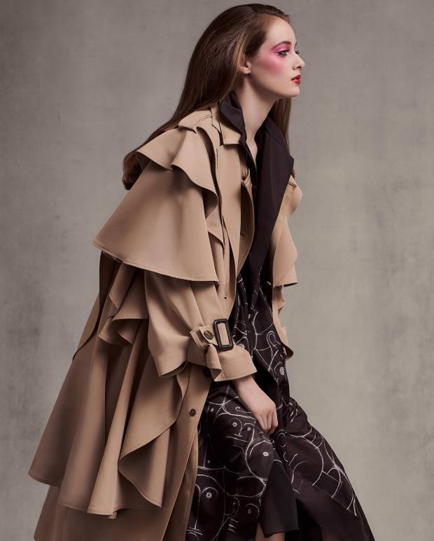Robert Wun polyester-mix trench, £1,380. Akris silk taffeta coat, £2,985, and silk crepe dress, £2,255
