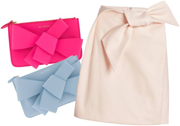 From left: leather clutches, £430 each. Cotton skirt, £950