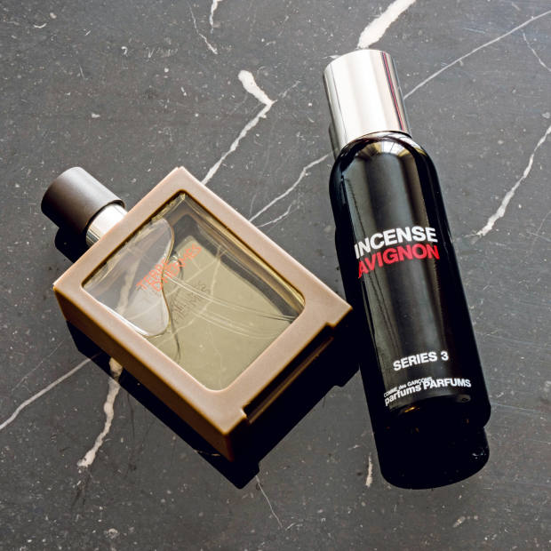 His two favourite scents, Terre d'Hermès, £80 for 100ml EDT, and Comme des Garçons Series 3 Incense: Avignon, £65 for 50ml EDT