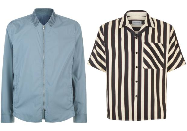 From left: Solid Homme cotton/polyester bomber jacket, £300, and acetate/cotton shirt, £225