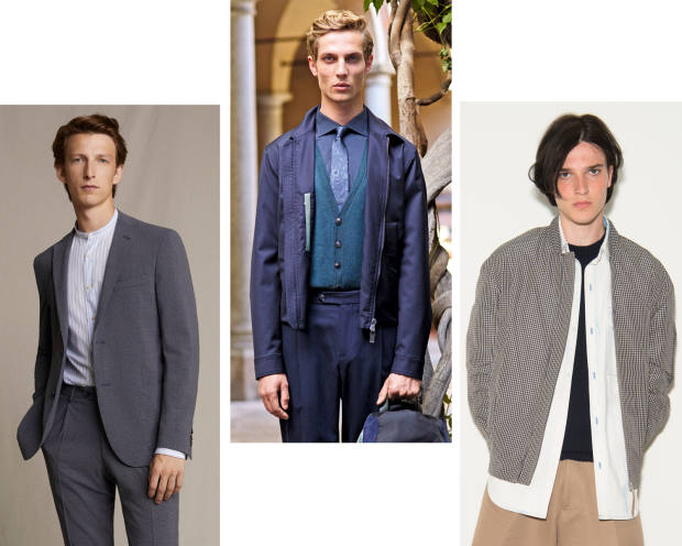 From left: Corneliani wool/silk seersucker suit, £1,206. PalZileri woolseersucker blouson, £1,190. Lou Dalton cotton/polyester seersucker bomberjacket, £470
