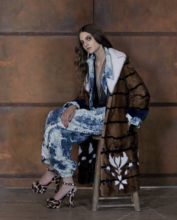Fendi mink coat, £28,500. Faustine Steinmetz cotton/polyester Crush Shibori jacket, £390, and matching trousers, £320. Ermanno Scervino lace top, £1,620. Jeremy Scott faux-fur platform heels, £777. Cartier gold, diamond, onyx and tsavorite Panthère earrings, £32,600