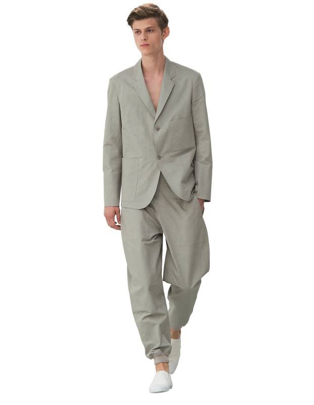 Lemaire gabardine jacket, £720, and matching trousers, £255