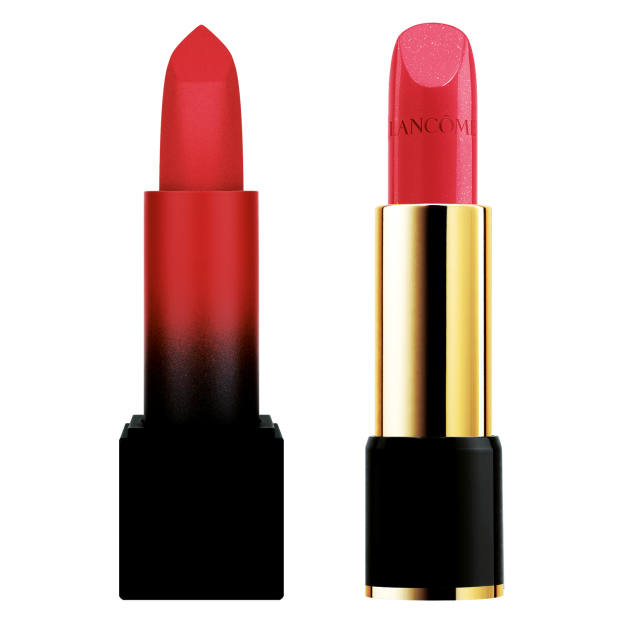 From left: Huda Beauty The Roses Power Bullet Matte in Interview, £22, from selfridges.com. Lancôme L'Absolu Rouge Cream in Effortless Chic, £27, from selfridges.com