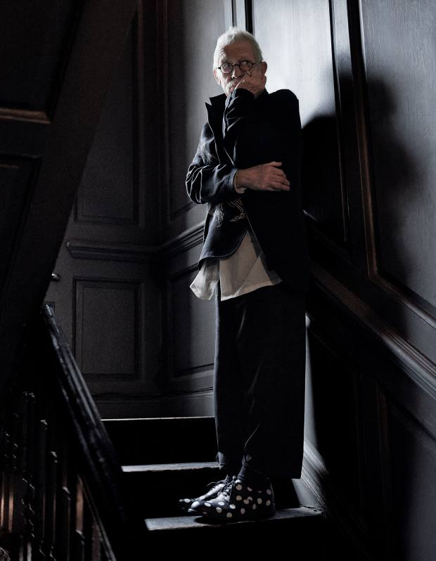 Yohji Yamamoto wool jacket, £2,030, matching trousers, £870 and cotton shirt, £750. Comme des Garçons Homme Plus cowhide shoes, £445