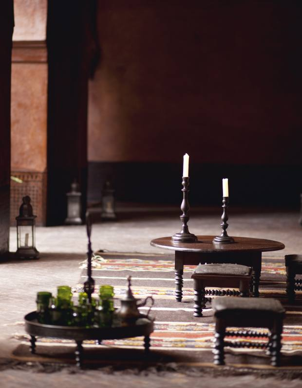 A table set for mint tea in one of the courtyards of the Moorish palace that Lutens is restoring.