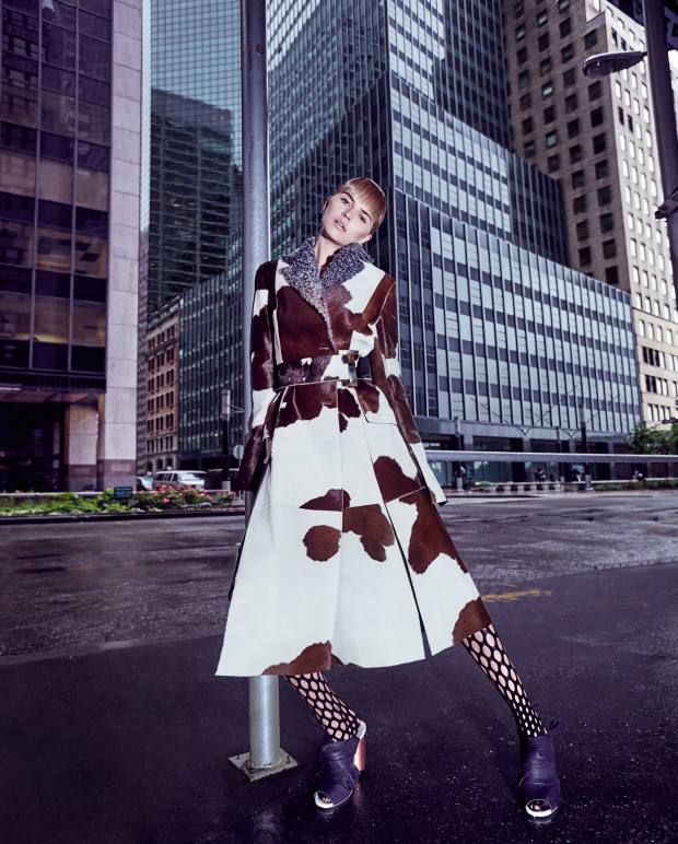 Proenza Schouler calfskin and swakara coat, £8,620, leather and felt mules, £497, and nylon tights, £185