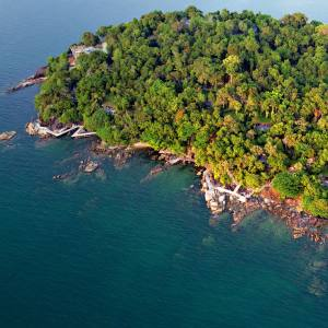 The Six Senses Krabey Island resort, off the south coast of Cambodia, blends into its lush tropical setting