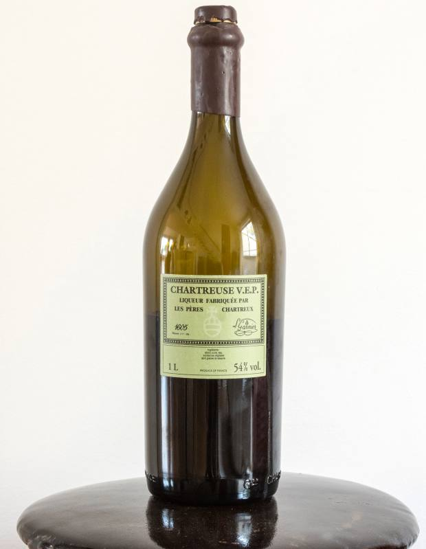 Michel Roset's bottle of Chartreuse V.E.P. from his sons