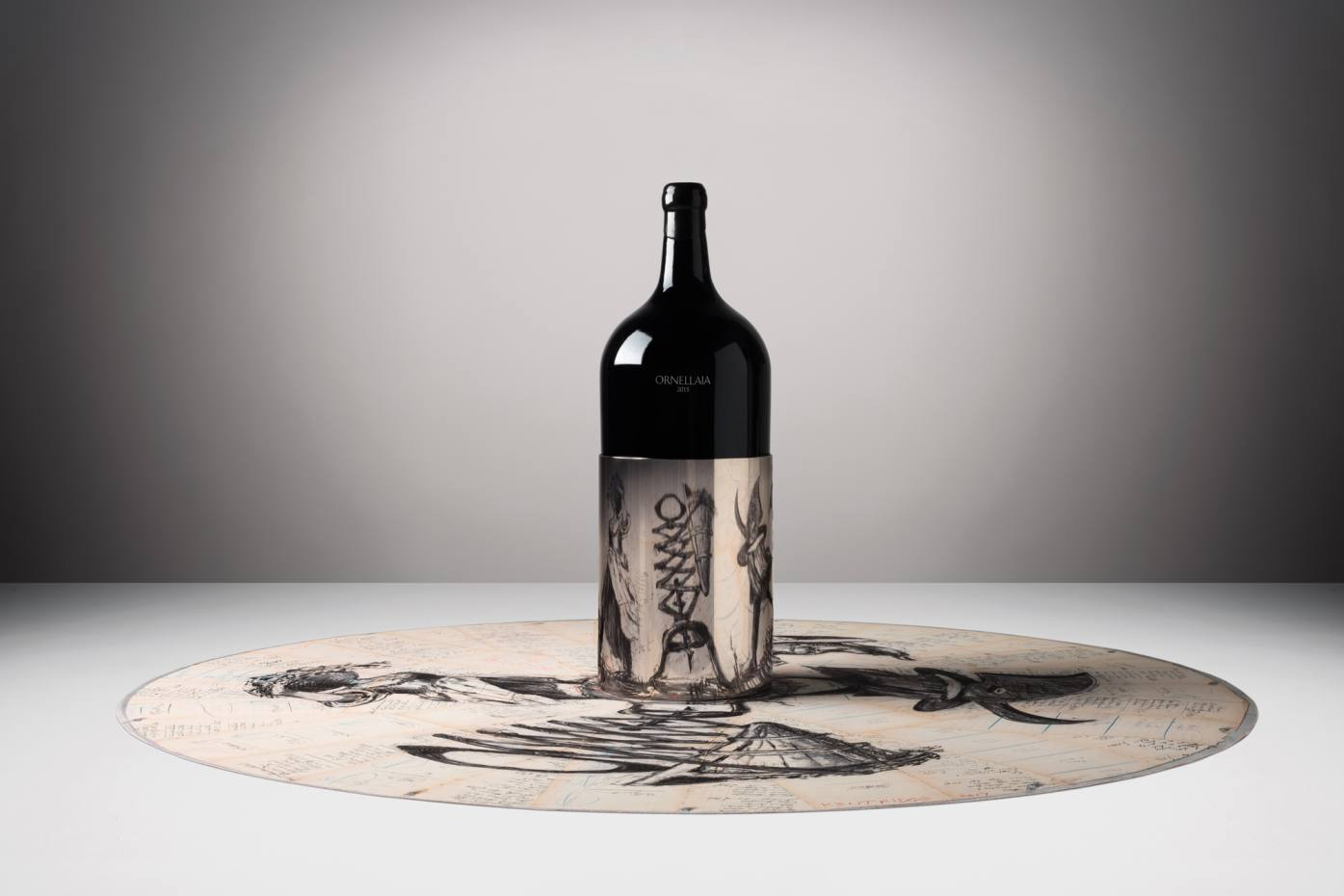 The limited edition Ornellaia 2015 bottles feature labels by the acclaimed artist, whose designs were inspired by taking part in a Tuscan harvest