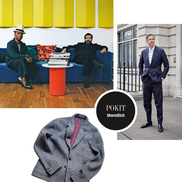 Clockwise from top left: Pokit tailor Bayode Oduwole with Sébastien Montabonel. Watermill Advertising's Bertie Miller in a Pokit suit. Pokit boiled-wool jacket, suit from £4,000