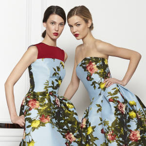 Carolina Herrera Jacquard rose-painted dress, £2,675 from Harrods, and gown, £5,506 from ON Motcomb