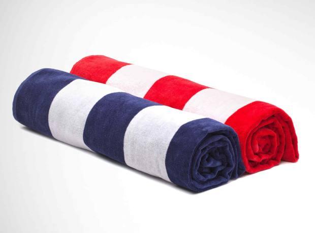 Urbanara's cotton striped Serena beach towels, £25 each, are made in Portugal