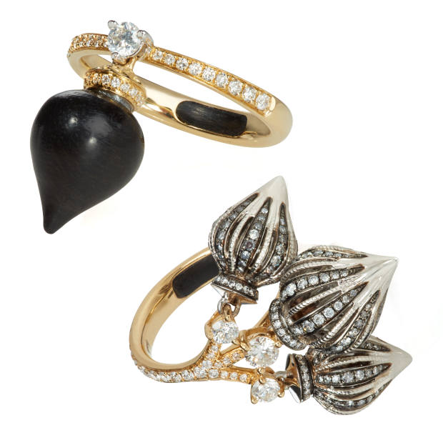 From left: Annoushka gold, diamond and ebony Touch Wood ring, £1,900. Annoushka gold, diamond and ebony Touch Wood triple-domed ring, £9,800