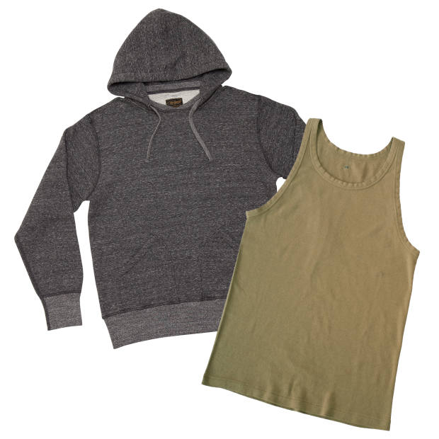 National Athletic Goods cotton pullover parka, £140. ELMC cotton US Army tank top, £35