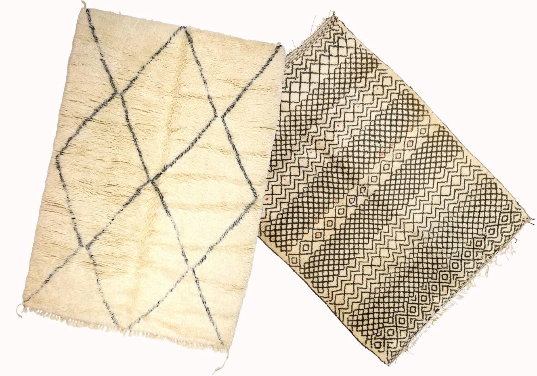 From left: wool Beni Ouarain 034 rug (modern), £2,500. 1940s wool Beni Ouarain 102 rug,  £7,000