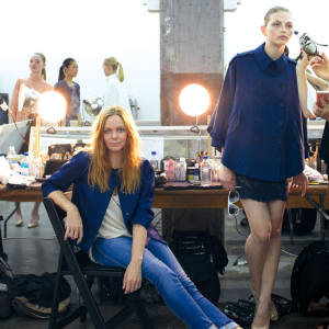 Stella McCartney sits backstage at her spring pre-collection in New York.