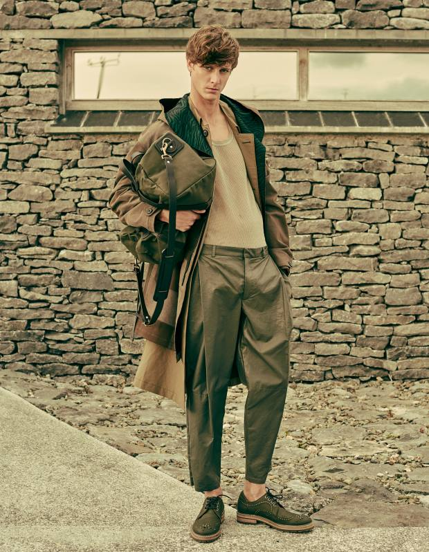 Lanvin cotton and silk jacquard parka, £1,970, silk/cotton coat, £1,890, and sleeveless cotton top, £390. Emporio Armani nappa leather trousers, £2,200. Jimmy Choo calfskin Alexander shoes, £625. Filson cotton twill and leather duffel bag, £235