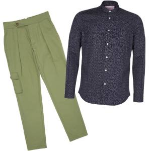 MbE pleated trousers, £150, and button-down shirt, £110