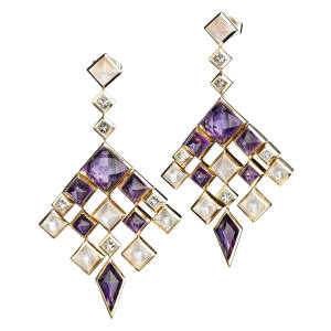 Ruifier gold Aria earrings with diamonds, amethysts and moonstones, £13,230