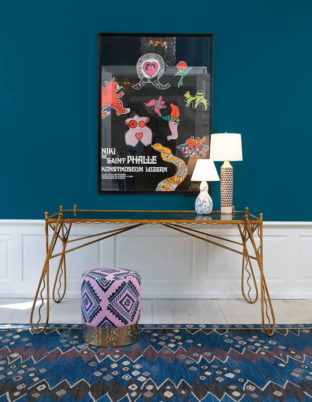 A 1950s black-tinted glass console table (€4,000) at The Apartment