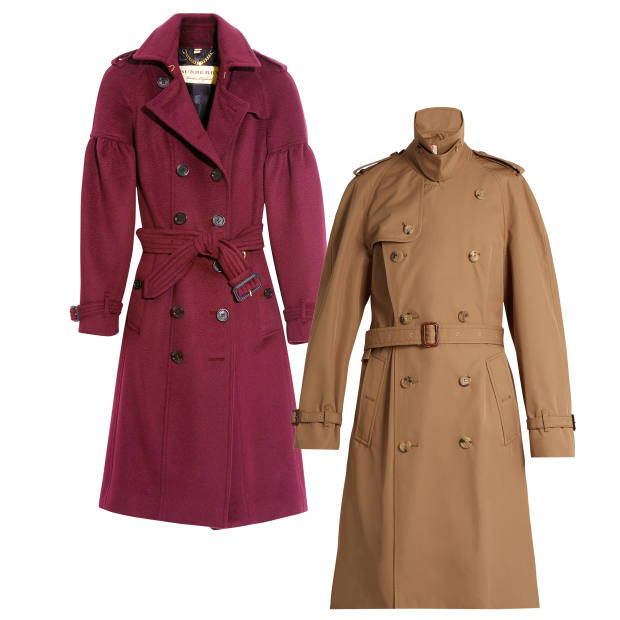 From left: Burberry cashmere trench, £1,895. Gucci cottontrench, £2,420 at Matchesfashion.com