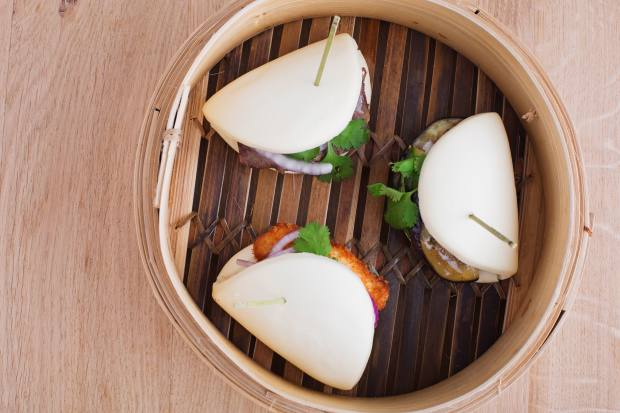 Bao buns, €5, are one of the Atsumono (hot) dishes on the tapas-style menu