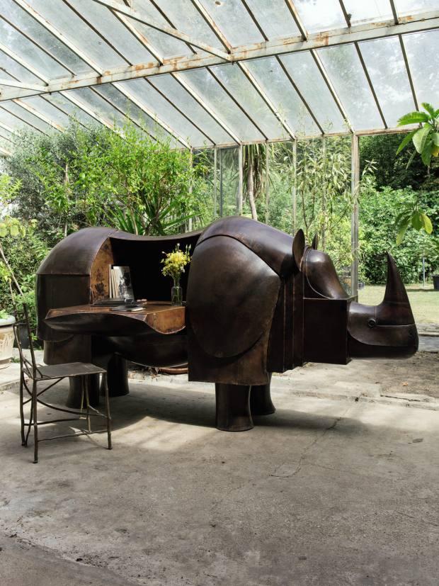 The surrealist Rhinocrétaire bronze desk