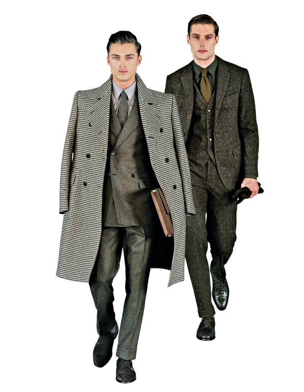 From left: autumn/winter 2014 wool-mix coat, £2,995, cashmere-mix suit, £2,195, cotton shirt, £145, wool-mix tie, £90, and suede monk shoes, £450. Donegal tweed jacket, £695, waistcoat, £195, and trousers, £250, cotton shirt, £145, cashmere tie, £90, and alligator shoes, £2,495