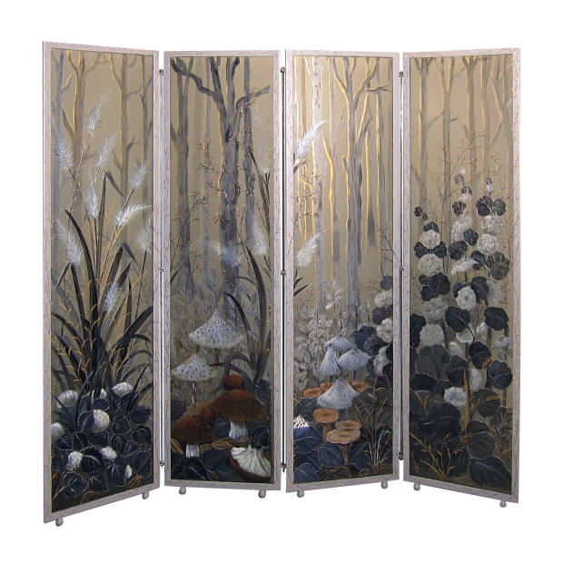 Hand-painted glass On the Edge of the Forest screen, €19,000, from Galerie Matignon